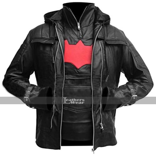 Batman Arkham Knight Game Black Hood Vest Jacket
