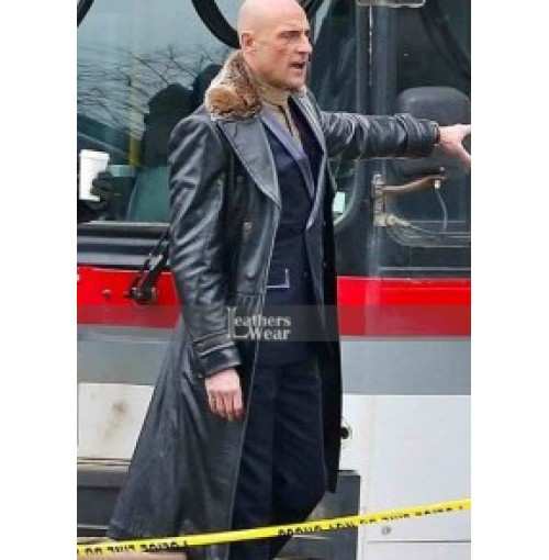 Dr Thaddeus Sivana Shazam Mark Strong Black Leather Coat