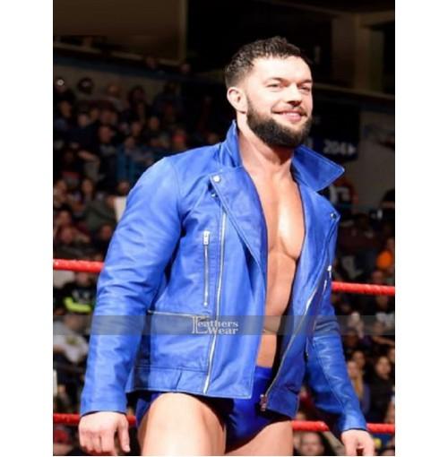 WWE Finn Balor Leather Blue Jacket