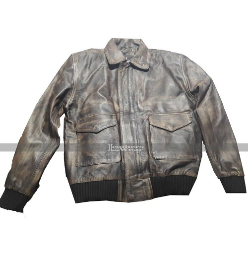 A3 Pilot Bomber Distressed Brown Leather Jacket
