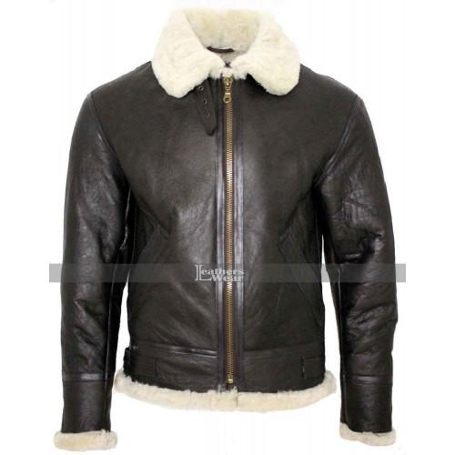 B3 Flight Aviator Shearling Sheepskin Leather Bomber Flying Jacket