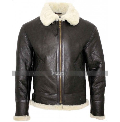B3 Flight Aviator Shearling Sheepskin Leather Bomber Flying Jacket