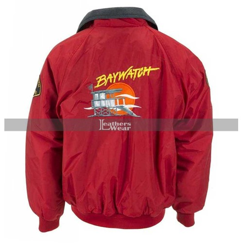 Baywatch David Hasselhoff Lifeguard Red Bomber Jacket Costume