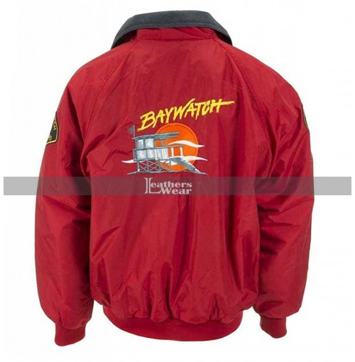 Baywatch David Hasselhoff Lifeguard Red Bomber Jacket Costume