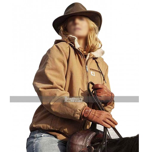 Kelly Reilly Yellowstone Shearling Collar Bomber Jacket
