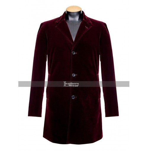 Peter Capaldi Doctor Who Maroon Velvet Coat