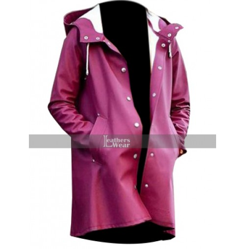 A Rainy Day In New York Selena Gomez Burgundy Coat