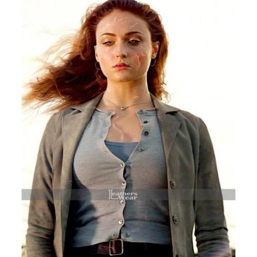 Sophie Turner X-Men Dark Phoenix Grey Coat