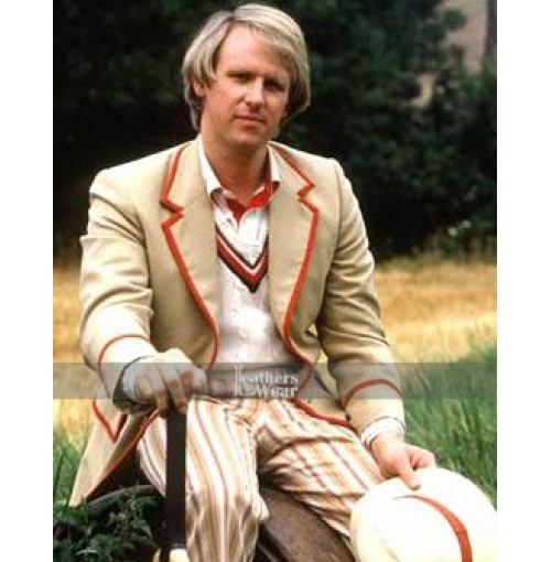 Doctor Who 5th Red Stripe Peter Davison Coat