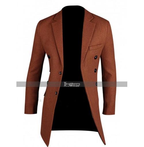 Men's Fashion Slim Fit Brick Red Pea Coat Jacket