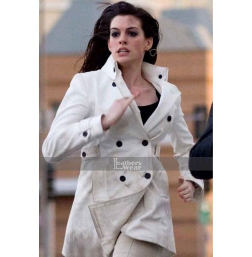 Get Smart Anne Hathaway (Agent 99) White Leather Coat