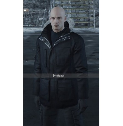Hitman Agent 47 Fur Shearling Hooded Black Coat Jacket