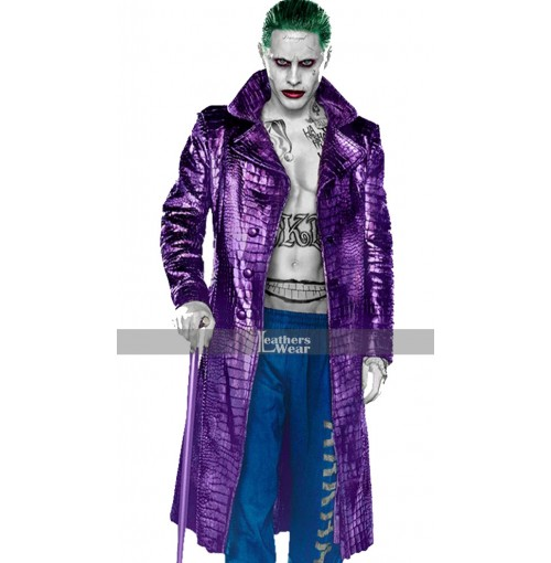 Suicide Squad Crocodile Pattern Joker Purple Trench Coat Cosplay Costume