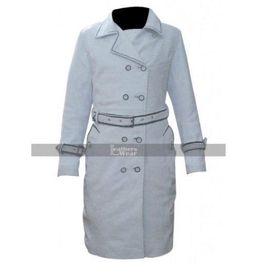 Kill Bill Daryl Hannah (Elle Driver) White Leather Coat