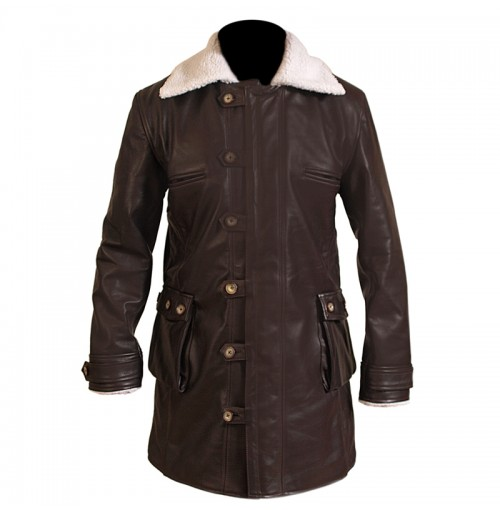 Brown Distressed Shearling Coat