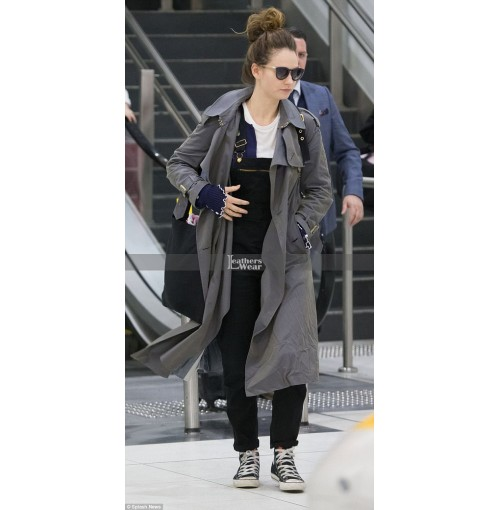 Lily James Arrives at Melbourne Airport Coat