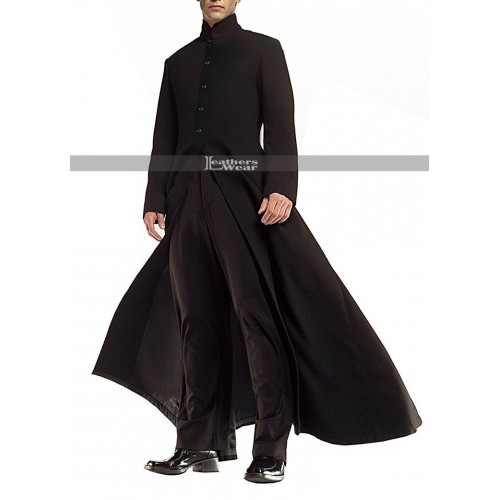 Matrix Reloaded Keanu Reeves (Neo) Trench Leather Coat Costume