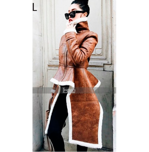 Real Leather Turtleneck Brown Women Fur Coat