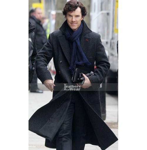 Sherlock Holmes Benedict Cumberbatch Black Wool Long Coat