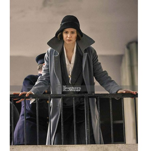 Tina Goldstein Fantastic Beasts Katherine Waterston Grey Wool Coat