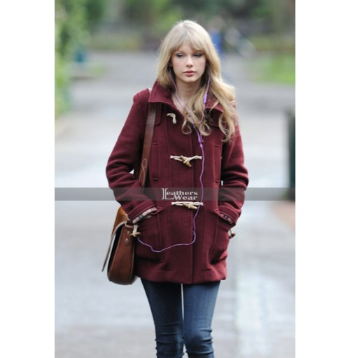 Taylor Swift Burgundy Toggle Coat