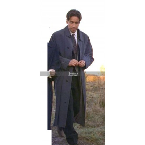 Fox Mulder The X-Files David Duchovny Blue Long Coat