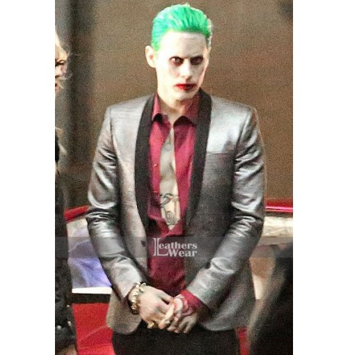 Suicide Squad Joker Leather Silver Coat