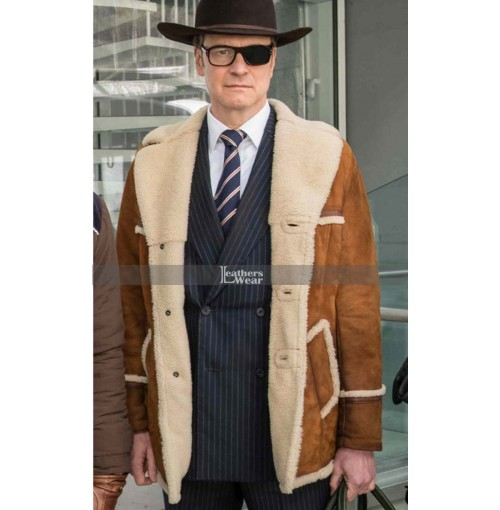 Harry Hart Kingsman The Golden Circle Colin Firth Shearling Jacket