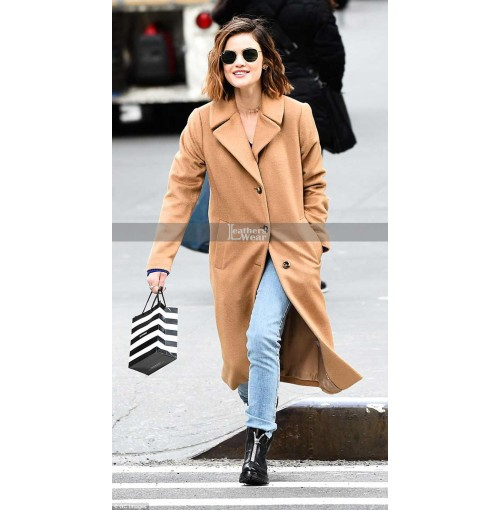 Lucy Hale Dons Warm Brown coat