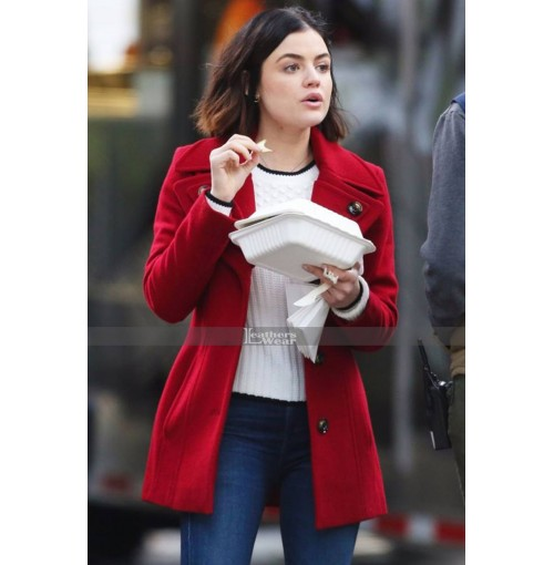 Lucy Hale on the Set of Life Sentence Red Coat