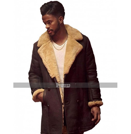 Trevor Jackson SuperFly Youngblood Priest Shearling Leather Coat