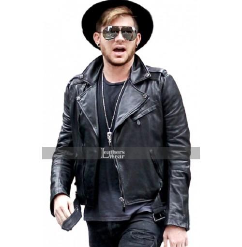American Singer Adam Lambert Black Leather Jacket
