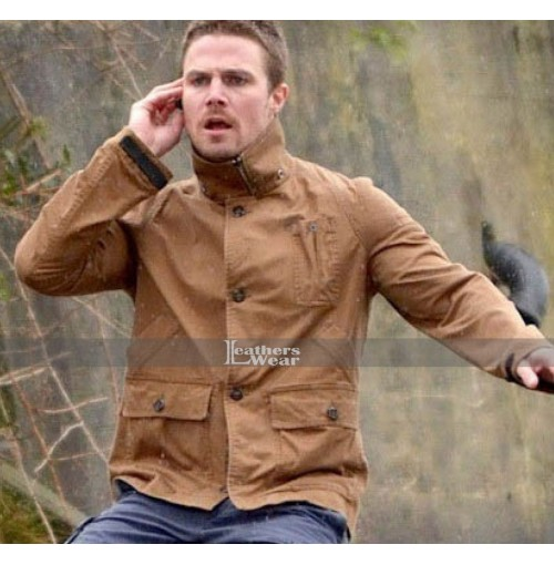 Arrow Stephen Amell Brown Leather Jacket