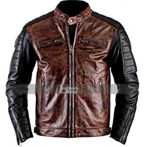 Brando Biker Vintage Cafe Racer Black Jacket