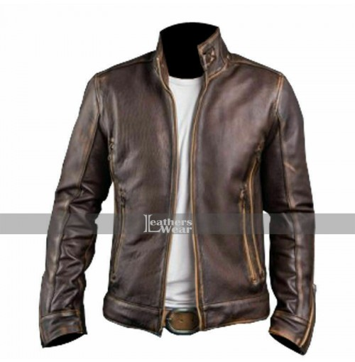 Men's Vintage Cafe Racer Stylish Leather Jacket