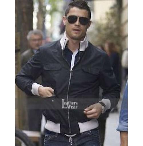 Cristiano Ronaldo Black Bomber Jacket