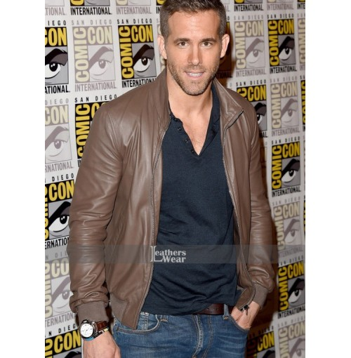 Deadpool Ryan Reynolds Comic Con Leather Jacket