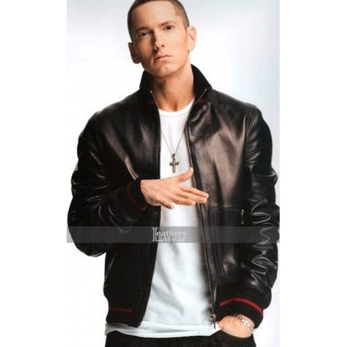 Eminem not Afraid Black Bomber Leather Jacket