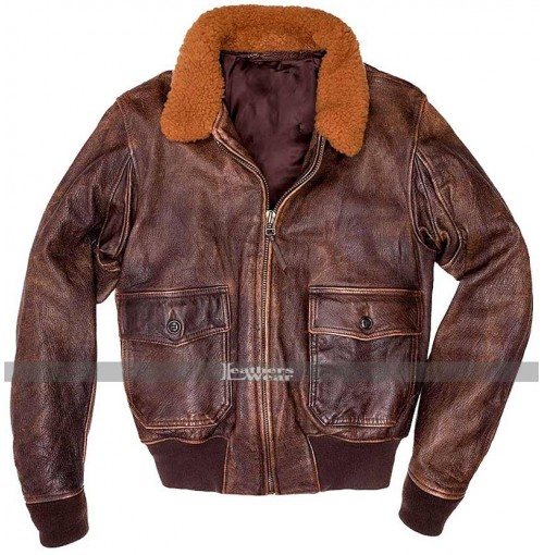 Men's G-1 Air Force Aviator Brown Distressed Flight Bomber Flying Fur Jacket