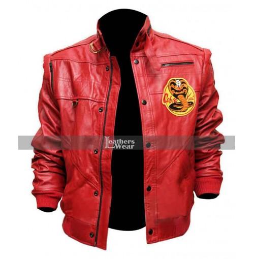 The Karate Kid Johnny Lawrence Cobra Kai Red Bomber Leather Jacket