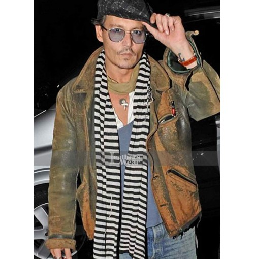 Johnny Depp Distressed Green Leather Jacket