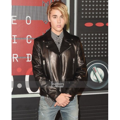 Justin Bieber Music Awards Biker Leather Brown Jacket