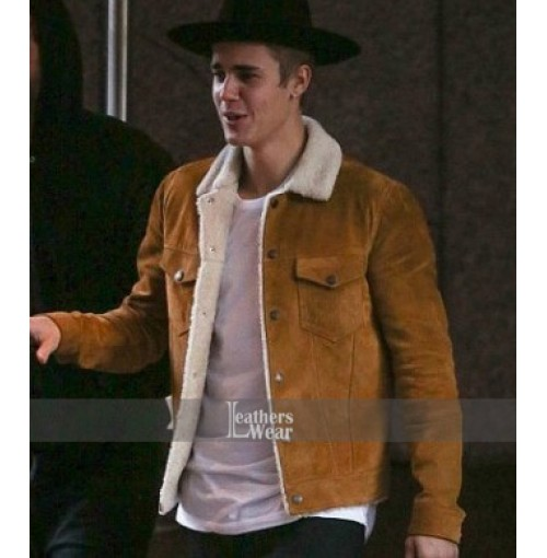 Justin Bieber Saint Laurent Shearling Brown Jacket