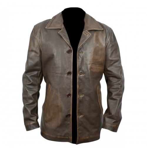 Elegant Distressed Brown Coat