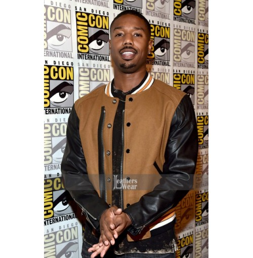 Michael B. Jordan Comic Con 2017 Brown Leather Jacket