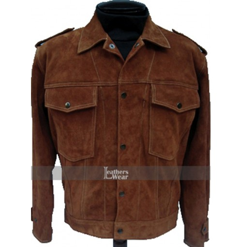 Rubber Soul Beatles John Lennon Brown Suede Leather Jacket