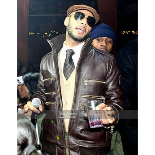 Swizz Beatz In Schott NYC Lambskin Brown Jacket