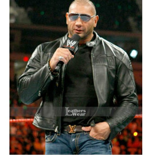 WWE Dave Batista Black Leather jacket