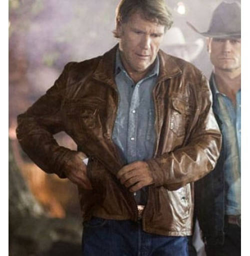 Walt Longmire New Sheriff Season 2 Brown Distressed Jacket