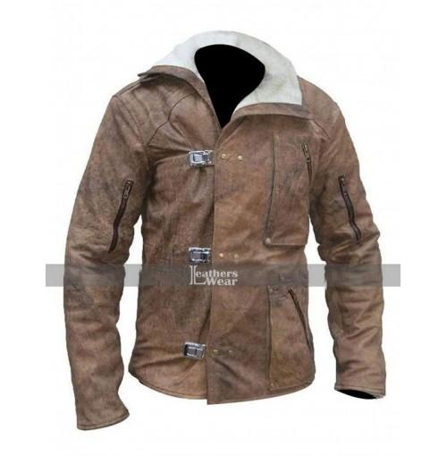 William B.J. Blazkowicz Wolfenstein Fur Brown Leather Jacket